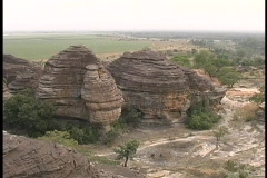 A birds-eye view of unusual beehive-like rock formations near Mali, West Africa. Stock Footage
