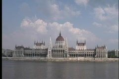 A long-shot, across water, of the Parliament Building in Budapest, Hungary. Stock Footage
