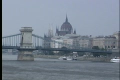 A medium shot of the Chain Bridge spanning the Danube River in Budapest, Stock Footage