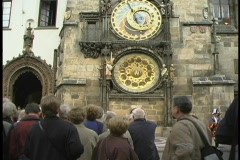 Pan-up of the front of the clock tower in Old Town Hall, Prague. Stock Footage
