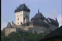 A medium shot of Karlstejn Castle in Prague. Stock Footage
