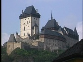 Stock Video Footage of A medium shot of Karlstejn Castle in Prague.