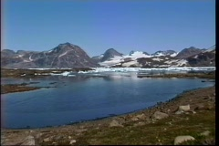 A rugged icy landscape sits at the base of a mountain range in Iceland. Stock Footage