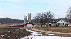 A picturesque farm landscape in winter Stock Footage