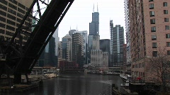 Long-shot of the Chicago city-skyline from the river Stock Footage