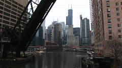 Medium shot of a draw bridge in Chicago Stock Footage