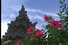 A worms-eye view of a Hindu temple, with lovely pink flowers in the foreground, Stock Footage