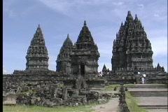 A medium shot of ancient Hindu temple ruins in Borobodur, Java. Stock Footage