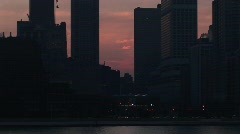 Chicago skyline during the golden hour from the lakefront Stock Footage