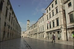 A medium shot of a city street in Dubrovnik, Croatia. Stock Footage