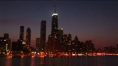A post-card perfect view of the Chicago skyline at night Stock Footage