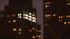 Abstract swish-pans of downtown Chicago at night Stock Footage