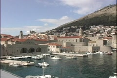 A medium-shot of a beautiful harbor at Dubrovnik, Croatia. Stock Footage