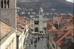 People walking in front of a church in Dubrovnik, Croatia. Stock Footage