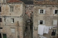 A birds-eye view of laundry hanging out to dry from buildings in Dubrovnik, Stock Footage