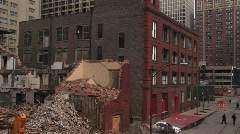 Medium-shot of a razed building Stock Footage
