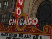 Stock Video Footage of The marquee of Chicago's historic landmark, Chicago Theater