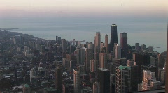 Chicago's downtown skyline and lakefront during the golden-hour Stock Footage
