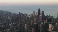 Stock Video Footage of Chicago's downtown skyline and lakefront during the golden-hour