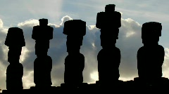 Clouds move mysteriously behind Easter Island statues. Stock Footage