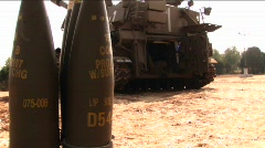 Artillery shells stand behind a tank in Israel. Stock Footage