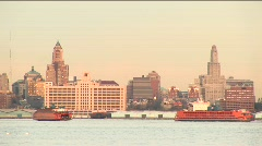 Two sightseeing boats pass each other Stock Footage