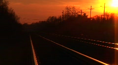 Railroad tracks  stretching towards the horizon Stock Footage