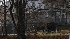 An Amish buggy travels by a large rural home Stock Footage