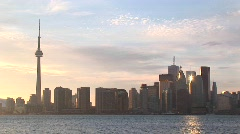 The sun reflects off several buildings in this Toronto skyline shot Stock Footage