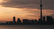 Stock Video Footage of A spectacular sunset with the CN-Tower