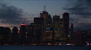 Stock Video Footage of Toronto, at night, with lights from across Lake Ontario