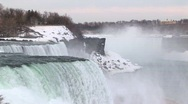 Stock Video Footage of Long-shot of Niagara Falls in winter