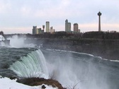 Stock Video Footage of The tourist hotels and viewing tower at Niagara Falls
