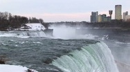Stock Video Footage of The mist rises from the bottom of Niagara Falls