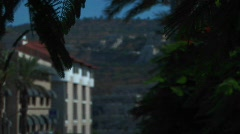 An apartment building and hillside are visible through trees Stock Footage