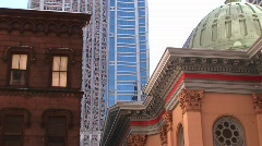 Three distinct types of urban architecture in Philadelphia Stock Footage