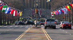 Benjamin Franklin Parkway near the Philadelphia Museum of Art Stock Footage