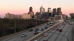 An expressway built over the Chicago River Stock Footage