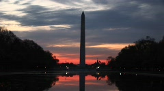 A golden-hour shot of the Washington Monument in silhouette Stock Footage