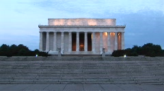 A distance shot of the Lincoln Memorial during golden-hour Stock Footage
