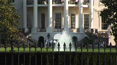 People walking on the second floor balcony of the White House Stock Footage