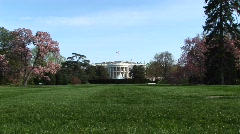 Lush green yard to the entrance of the White House Stock Footage