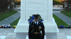 A decorated soldier stands in front of a monument and gives a speech Stock Footage