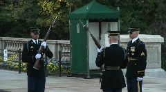 Three soldiers guard the tomb of the unknown soldier Stock Footage