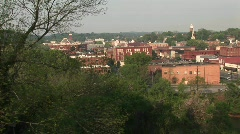 Buildings and a traffic bridge in a small mountain town Stock Footage