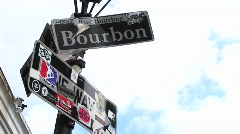 Sign for Bourbon Street in New Orleans Stock Footage