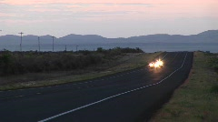 Medium shot of four motorcycles on a rural Texas roadway Stock Footage