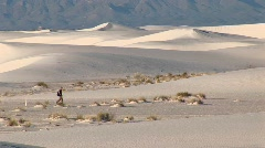 Hiker in White Sands National Monument in New Mexico Stock Footage