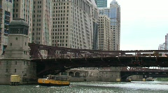 Watertaxi view at Chicago river Stock Footage