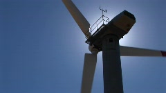Rotor, nacelle and tower of a wind turbine at Tehachapi, California - stock footage